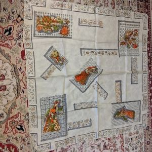 Vintage scarf with ethnic figures